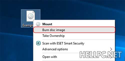 right-click on image file and select burn disc image