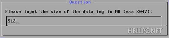Select the size of data disk