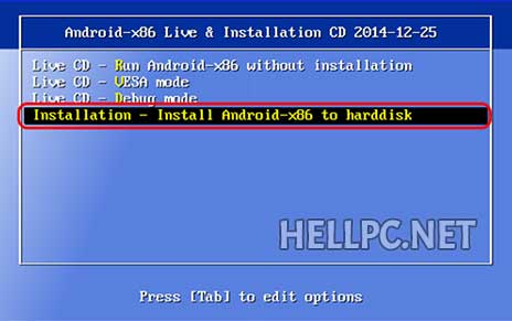 Select Installation option to dual boot Android KitKat with Windows