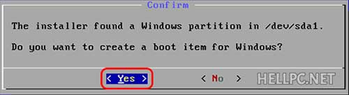 Select Yes to make boot entry for Windows to dual boot with Android