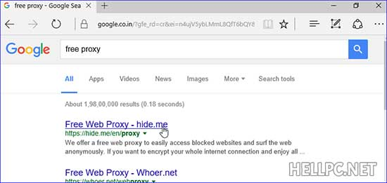 Search free proxy on Google