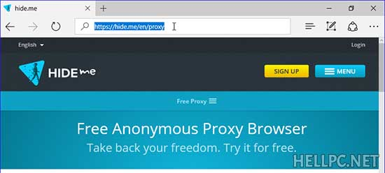 Open Hide.me free proxy website