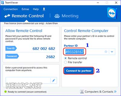Enter TeamViewer ID and click Connect to start remote connection using TeamViewer