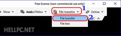 Select File Transfer from top bar in TeamViewer