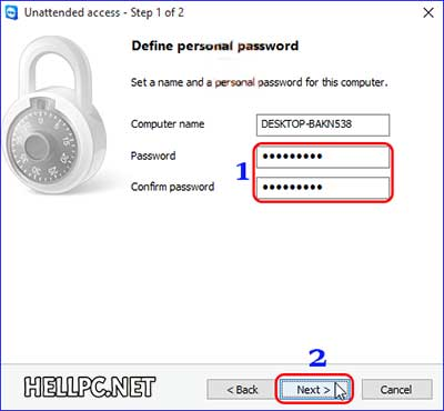 Set personal password for remote access