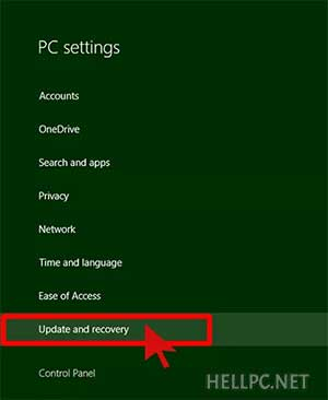 Click Update and Recovery to enter Safe Mode in Windows 8