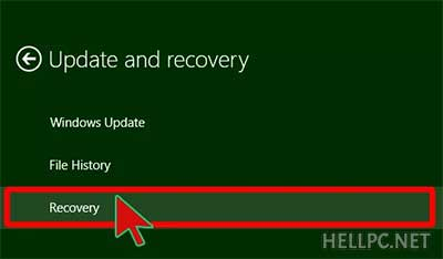 Click Recovery to view Recovery Options