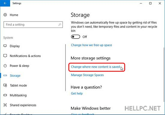 Windows 10 1709 Storage Settings - Click on Change Where New Content is Saved