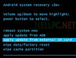 Select Apply Updates from SD Card in Stock Recovery