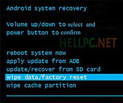 Perform Wipe Data/Factory Reset on using Stock Recovery