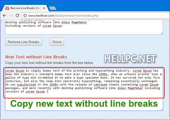 Copy the text without Line Breaks from output text box