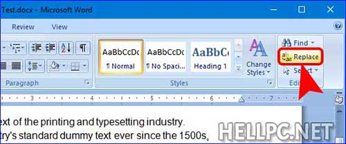Click Replace from MS Word Menu bar