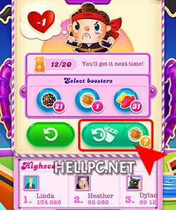 Click Retry with Special Candy button