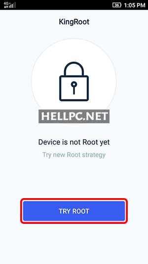 Tap on TRY ROOT to root your Android phone without PC