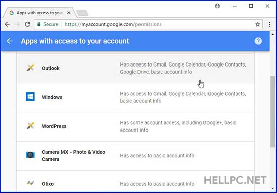 Apps and Websites with access to your Google account