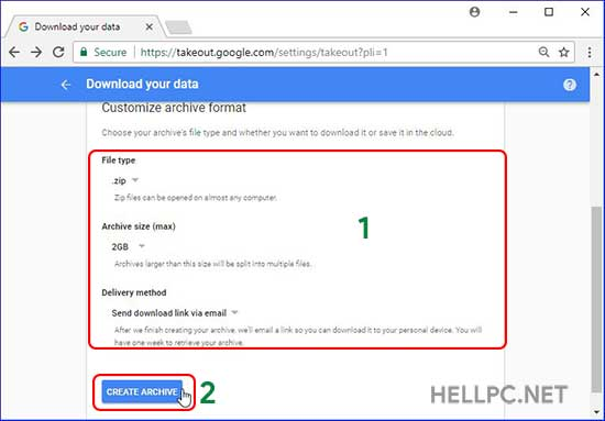 Create archive of your personal data on google