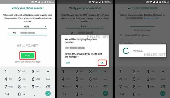 verify mobile number in second whatsapp