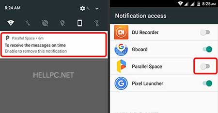 notification access for parallel space
