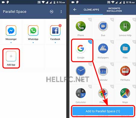 add google app to parallel space to run two whatsapp accounts