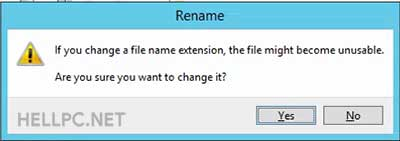Click Yes to Change File Extension