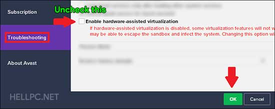 Disable hardware-assisted virtualization in Avast antivirus