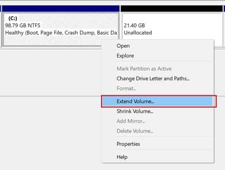 Right click and Select Extend Volume to Extend C drive Space