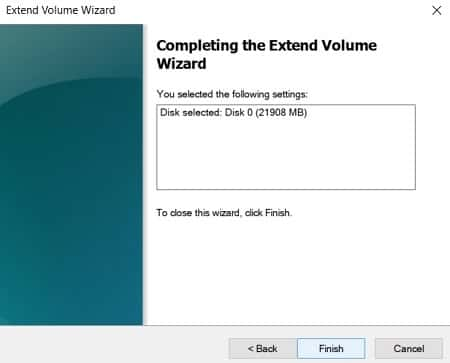 Finish the Extend C Drive Volume Wizard