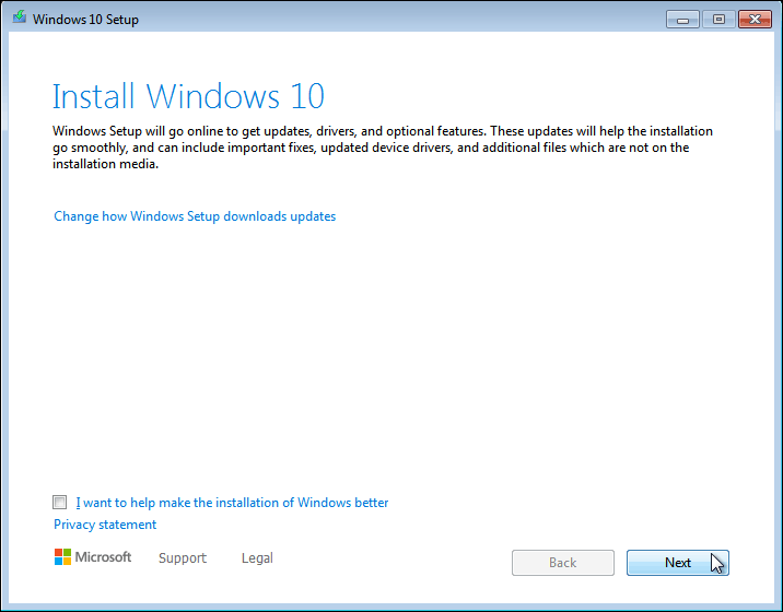 Click Next To Continue Installation Of Windows 10