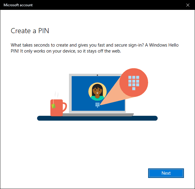 Click Next To Create A Pin For Windows 10