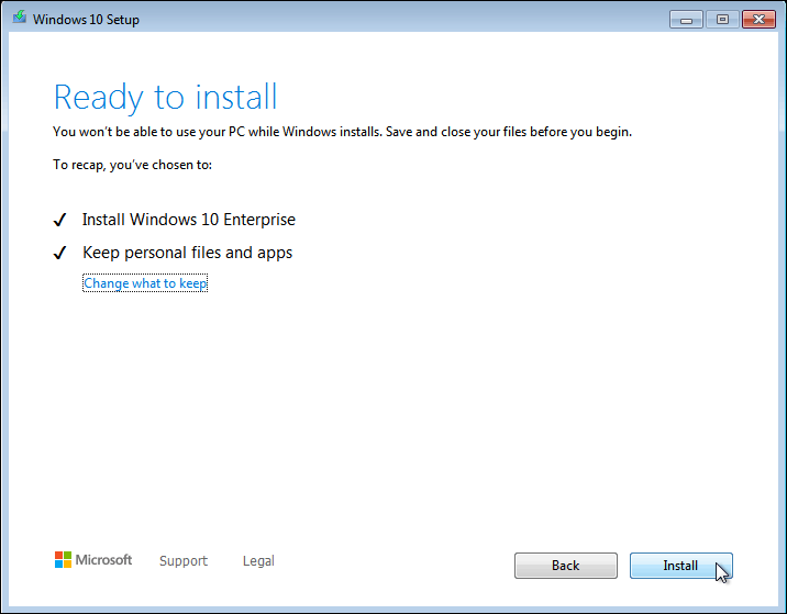 Click On Install To Upgrade Your Windows 7 To Windows 10