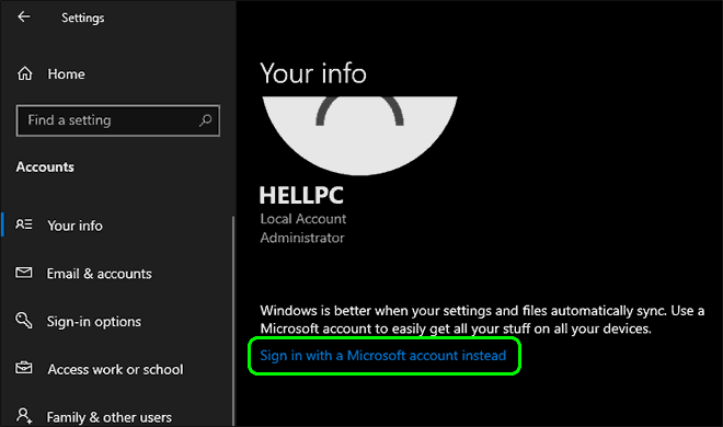 Click On Sign In With A Microsoft Account Instead Under Your Account Info