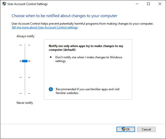 Default User Account Control Uac Settings