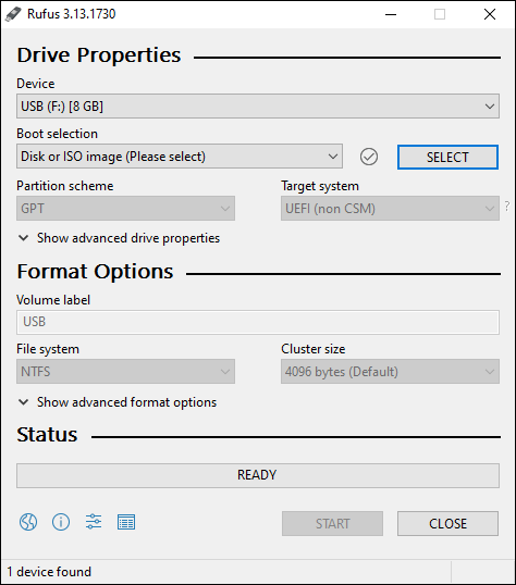 Launch Rufus And Click On Select To Browse For ISO - Create Windows 10 bootable USB using Rufus
