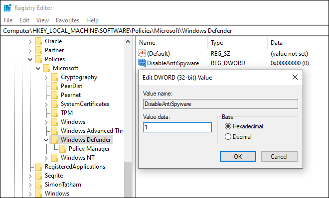 Modify Disableantispyware Dword And Set Its Value To 1 - fix high cpu usage by msmpeng.exe