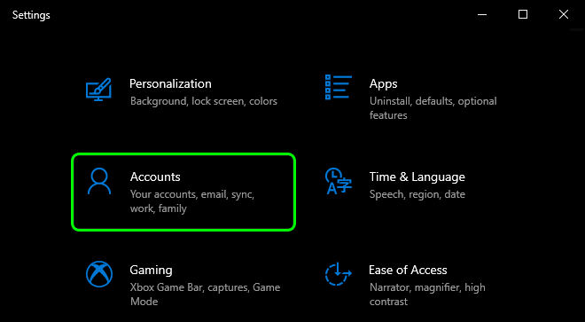 Open Settings In Windows 10 And Select Accounts