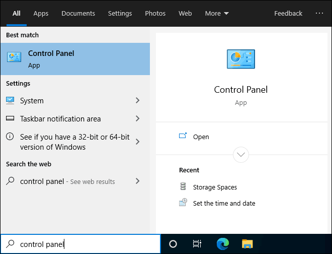 Search And Open Control Panel