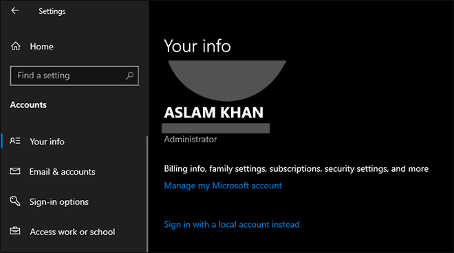 Sign in with Microsoft Account successful