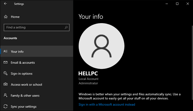 Account Info Page Showing Account Information