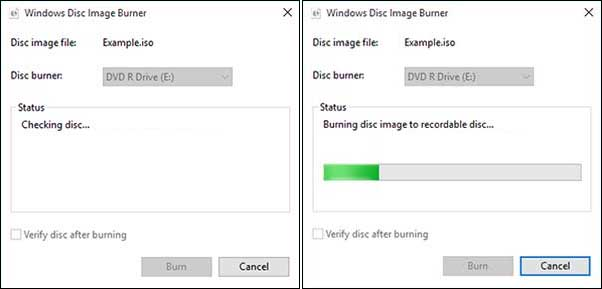 Burning The Iso File To Disc In Progress
