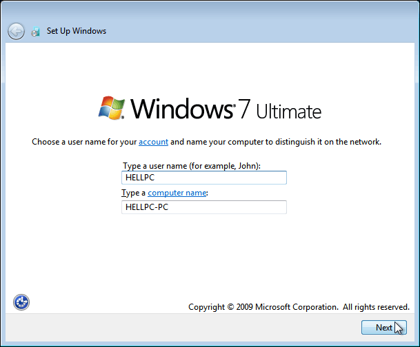Choose A Username For Your Account On Windows 7