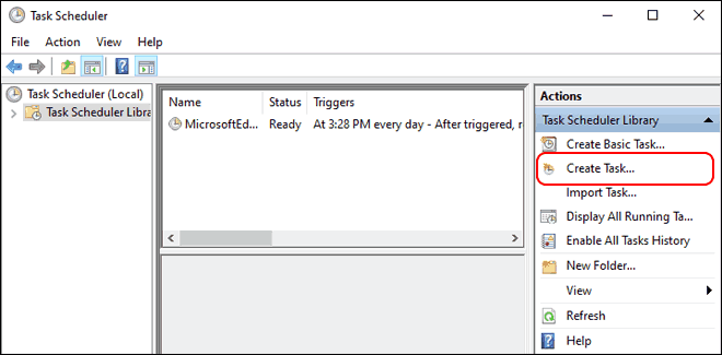 Click Create Task In Task Manager