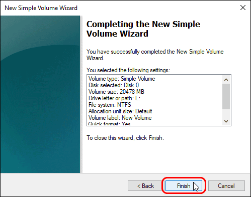 Click Finish To Create New Volume With Selected Settings