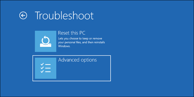 Click On Advanced Options In Troubleshoot Menu