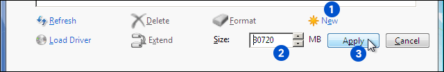 Click On New Enter Partition Size And Click Apply To Create New Partition