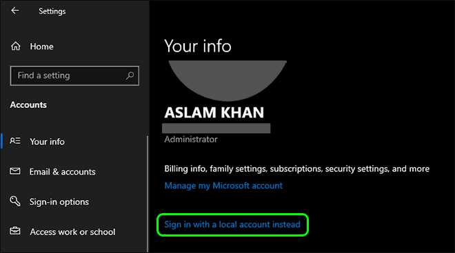 Click On Sign In With A Local Account Instead Under Your Microsoft Account Info To Switch Back To Local Account