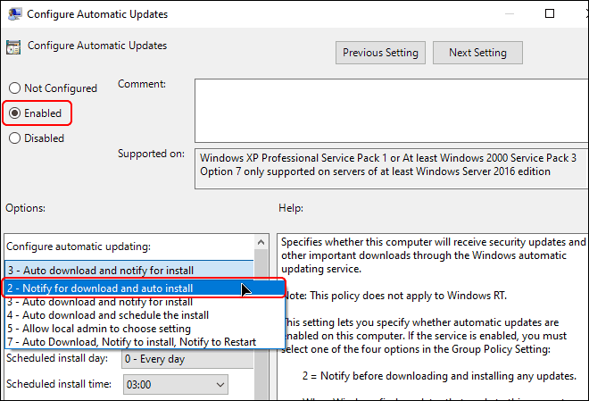 Change policy setting to Notify For Download And Auto Install