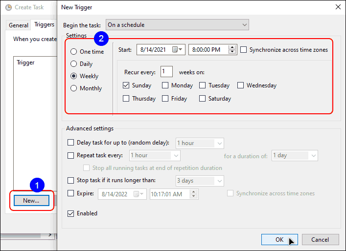 Create New Trigger To Run The Task On Weekly Or Monthly Basis