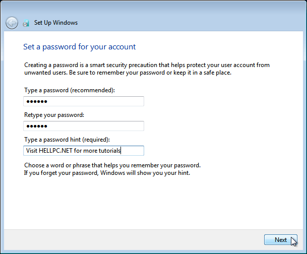 Create Password For Your Windows 7 Account