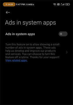 Disable Show Ads In System Apps Miui 12