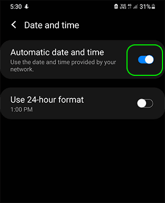 Enable Automatic Date And Time To Get Time Update Automatically